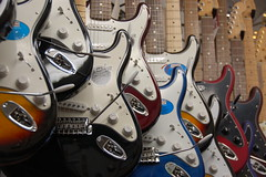 Fender Stratocaster electric guitars at Scituate Music Company near the harborfront (no flash) by Chris Devers