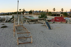 Abandoned and sinking playground at the North Shore Yacht Club