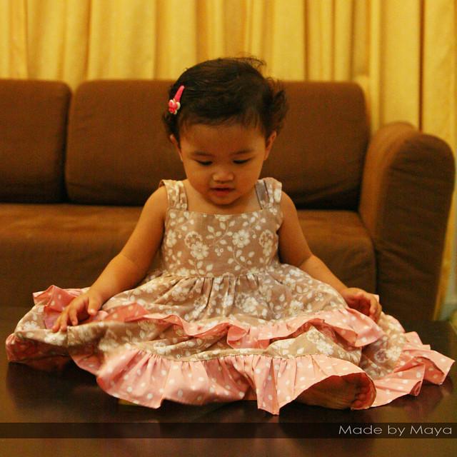 pink & brown layered dress