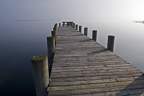 dock in fog by Alida's Photos