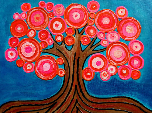 The Lollipop Tree | Bright, colorful, fun abstract original art painting