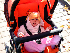clothing, red, baby carriage, costume,