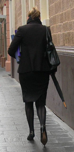 Heels, fashion stockings, pencil skirt, figure hugging jacket