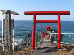 sea, ocean, pier, coast, walkway, torii,