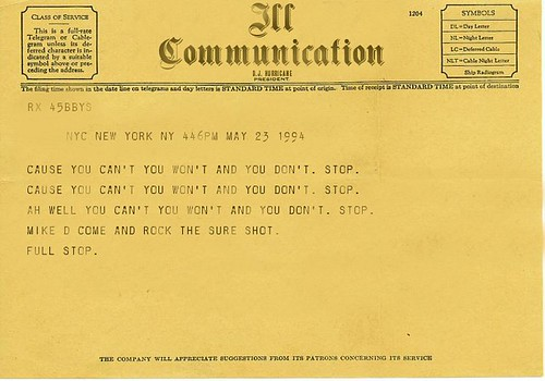 Telegram from the Beastie Boys