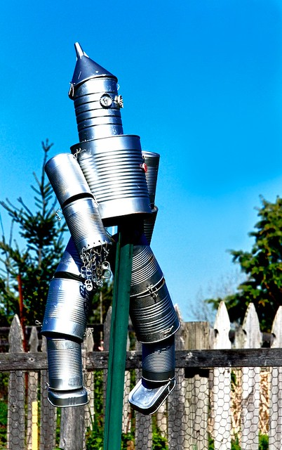 139 HTITFT: Tin Can Scarecrow at the U of M Dearborn Gardens
