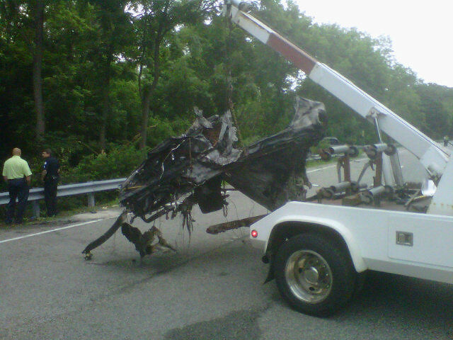 What's left of Ryan Dunn vehicle. Porsche 911 GT3. 130mph & twice the legal BAC.