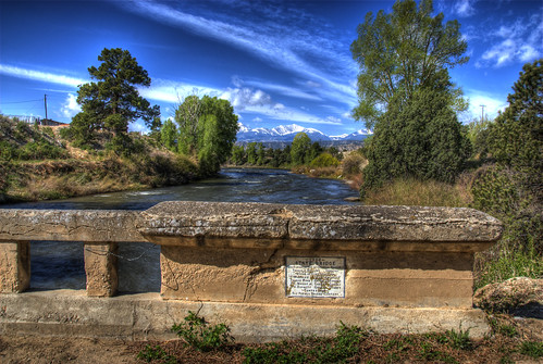 blue trees sky water clouds plaque river landscape colorado details historic deck salida railing arkansasriver bridging stonebridge brownscanyon 200805 bridgepixing bridgepix brownscanon