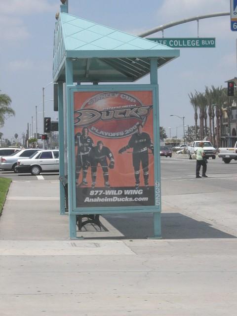 Anaheim Ducks bus stop advertisement