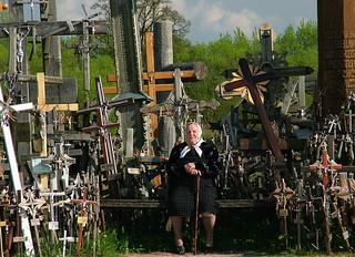 Woman Amongst Crosses