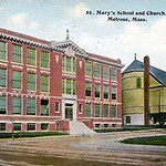 St. Mary's School and Church Melrose, Massachusetts postcard
