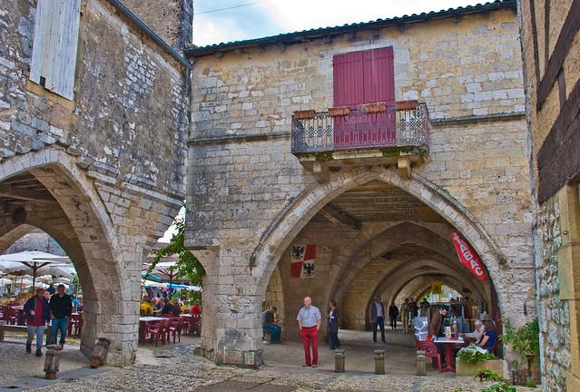 Market day, Monpazier, Lot-et-Garonne, France, 18 Sept. 2008