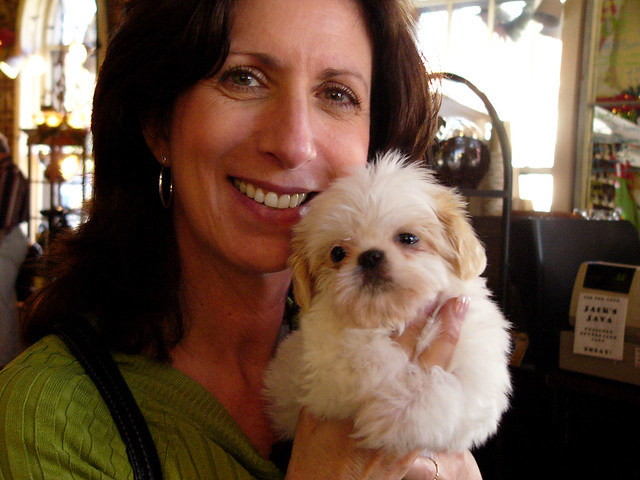 Nancy and puppy at Jack Jones