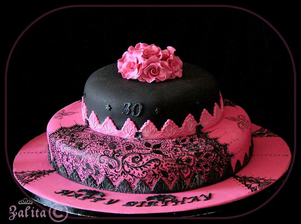 Electric Pink And Black 30th Birthday Cake