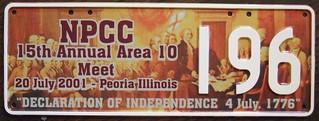 N.P.C.C. 2001 16TH ANNUAL NORTH AMERICAN MEET souvenir license plate (ERROR)