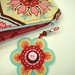 COSMETIC BAG IN GINGER BLOSSOM FABRIC WITH CO-ORDINATING FELT BROOCH