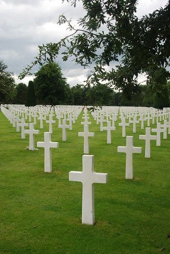 Crosses as far as the eye can see, American Military Cemetery at Colleville-sur-Mer, Normandy, France