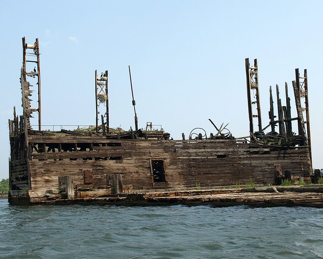 Remains of Shipyard on Shooters Island, Newark Bay