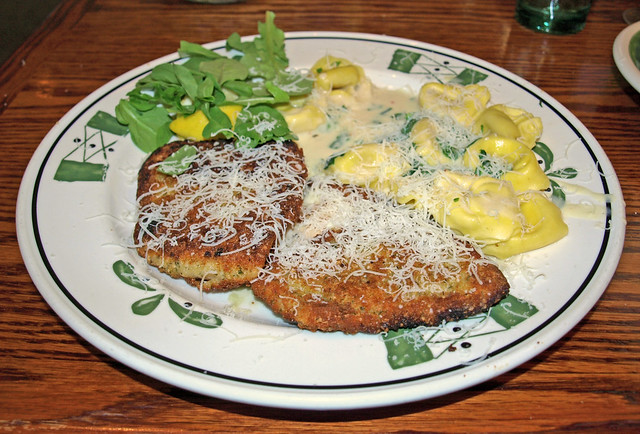 Breaded chicken milanese with tortellini and arugula in cream sauce at olive garden june 10 2008 Olive garden citrus heights ca