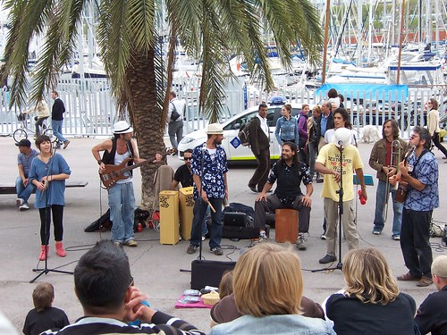 Great band performing at Port Vell
