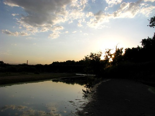 trees sunset reflection water silhouette clouds sand southplatteriver