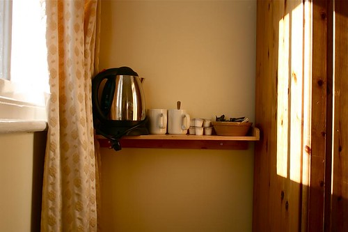 There are tea and coffee making facilities in every room at Llandudno Hostel