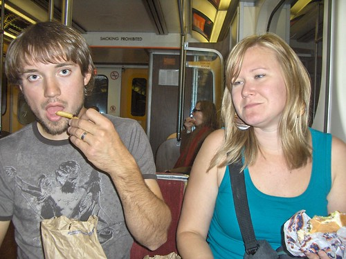 Eating lunch on the subway