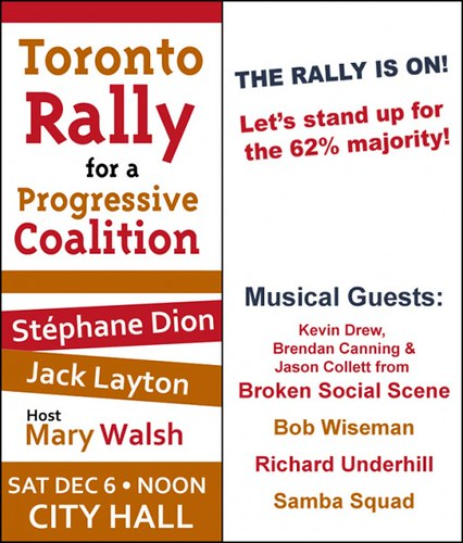 Toronto Rally for a Progressive Coalition, Nathan Phillips Square, Toronto City Hall, 12 Noon, Saturday December 6 2008, Toronto Ontario Canada