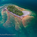 Landscape art - Aerial picture of a little island in lake Superior in Ontario Canada