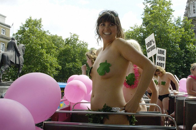 ... on the top of a London Bus during her 'mass flashmob' of naked women.