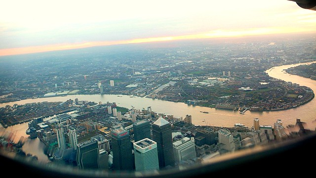 The River Thames with the Docklands