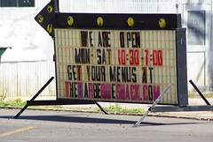 The sign for the Barbeque Shack in Woodward, OK, promotes its website.
