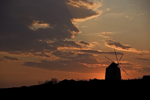 Mill in silhouette