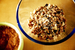 meal(0.0), coconut(0.0), dessert(0.0), breakfast cereal(1.0), breakfast(1.0), produce(1.0), food(1.0), dish(1.0), muesli(1.0), cereal(1.0), cuisine(1.0), snack food(1.0),