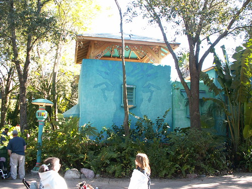 Discovery Island Restrooms near Dinoland, across from Flame Tree Barbeque