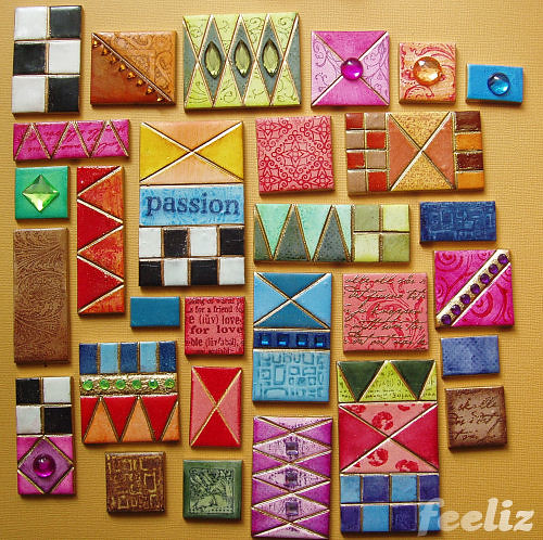 Coloured Tiles | polymer clay, mixed media | Jana Lehmann
