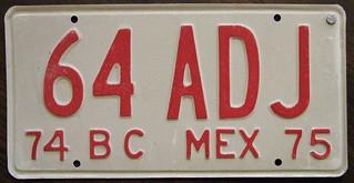 MEXICO, BAJA CALIFORNIA 1974-75 commercial plate