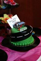 buttercream(0.0), party(0.0), cake(1.0), fondant(1.0), green(1.0), sugar paste(1.0), food(1.0), cake decorating(1.0), icing(1.0), birthday cake(1.0), birthday(1.0), pink(1.0),