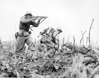 A Marine of the 1st Marine Division draws a bead