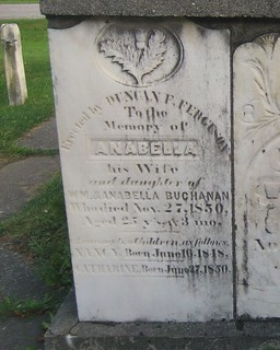 Anabella wife of Duncan Ferguson - buried in 1850 at the Kilmartin Cemetery, Yarmouth, Elgin, Ontario, Canada