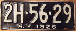 NEW YORK 1926 LICENSE PLATE