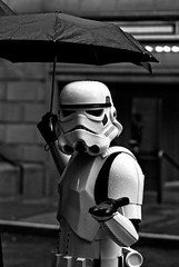 Not every Stormtrooper gets to kick Ewoks and shoot Rebels.  Some--hold umbrellas.