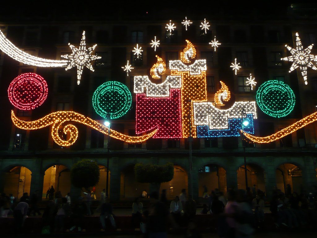 Christmas decorations around the Mexico City Zocalo