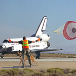 Space Shuttle Endeavour is marshaled by an Airman with a dog