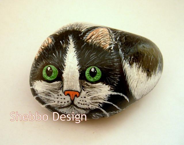 Hand Painted Cat Rocks
