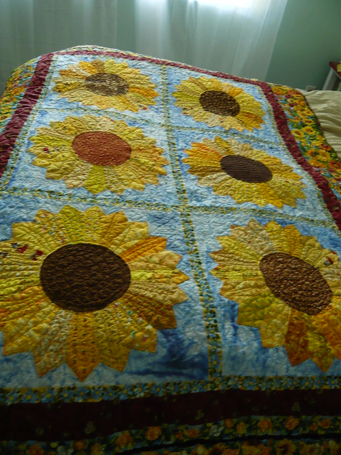 tu sunflower na quilter art were sunflowers a tunaquilts with van fabric quilts quilt if gogh