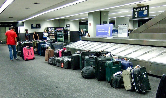 unclaimed baggage at the carousel