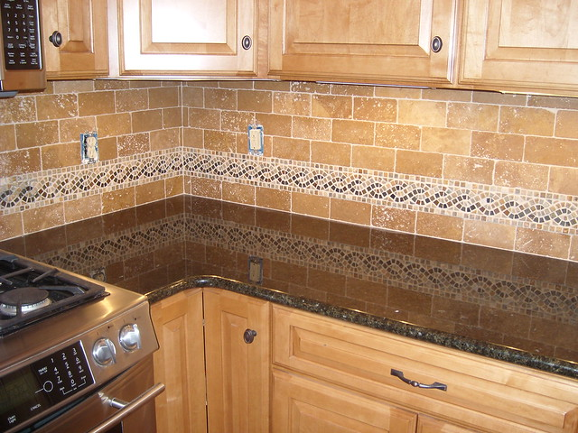 tumbled marble backsplash with epoxy grout completed project flickr
