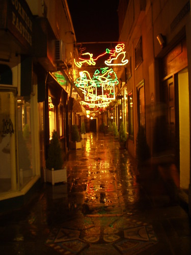 Christmas Lights in the Rain