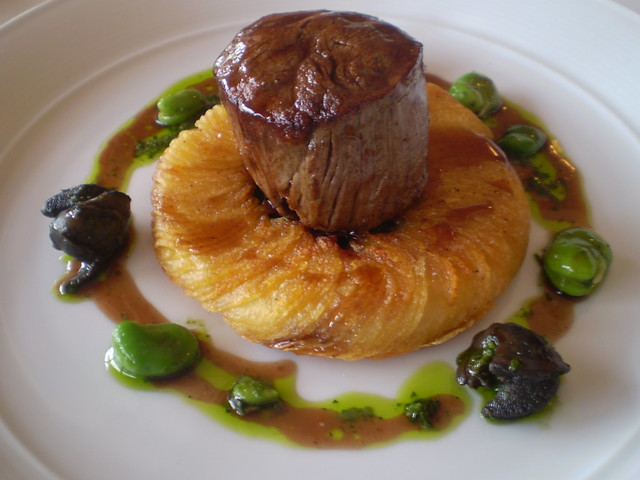 Beef Fillet with Potato Gallete, Snails, Herb Butter & Red Wine Jus ...